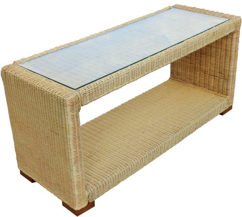 Slim Wicker Rattan Coffee Table - Cosy Home Interiors