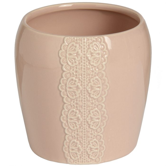 Ceramic Lace Detail Candle Holder In Peach - Cosy Home Interiors