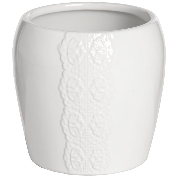 Ceramic Lace Detail Candle Holder In White - Cosy Home Interiors
