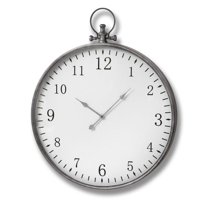 Silver Pocket Watch Wall Clock - Cosy Home Interiors