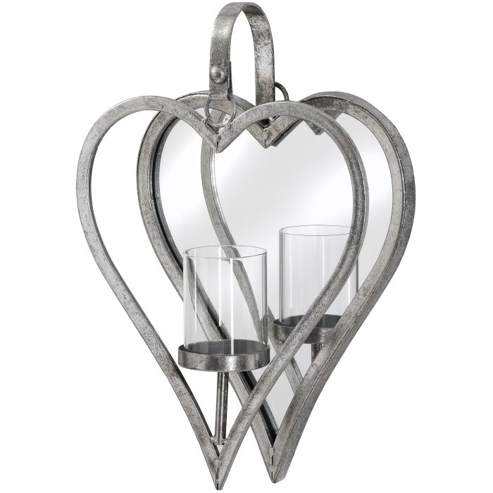 Small Antique Silver Mirrored Heart Candle Holder - Cosy Home Interiors