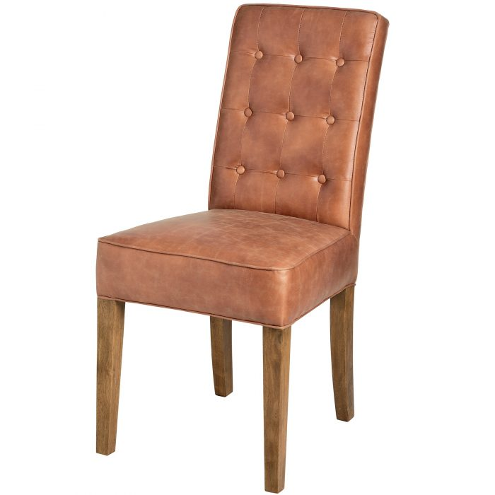 Tan Faux Leather Dining Chair - Cosy Home Interiors