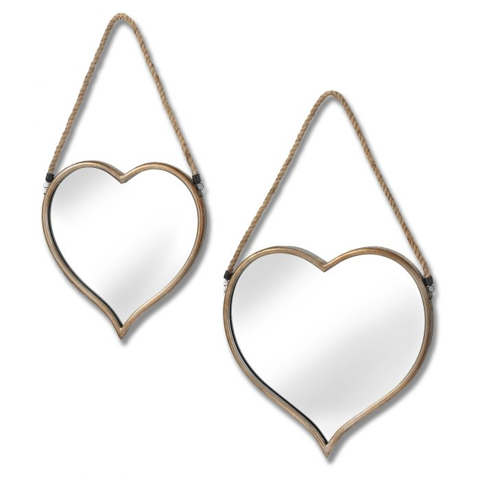 Set Of Two Heart Mirrors With Rope Detail - Cosy Home Interiors