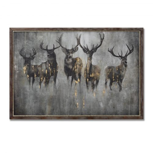 Large Curious Stag Painting on Cement Board with Frame - Cosy Home Interiors