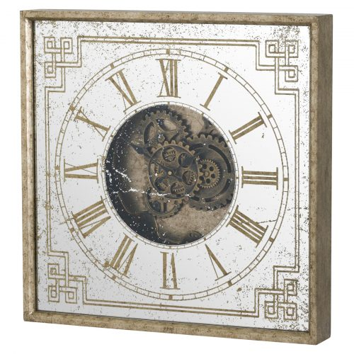 Mirrored Square Framed Clock with Moving Mechanism - Cosy Home Interiors