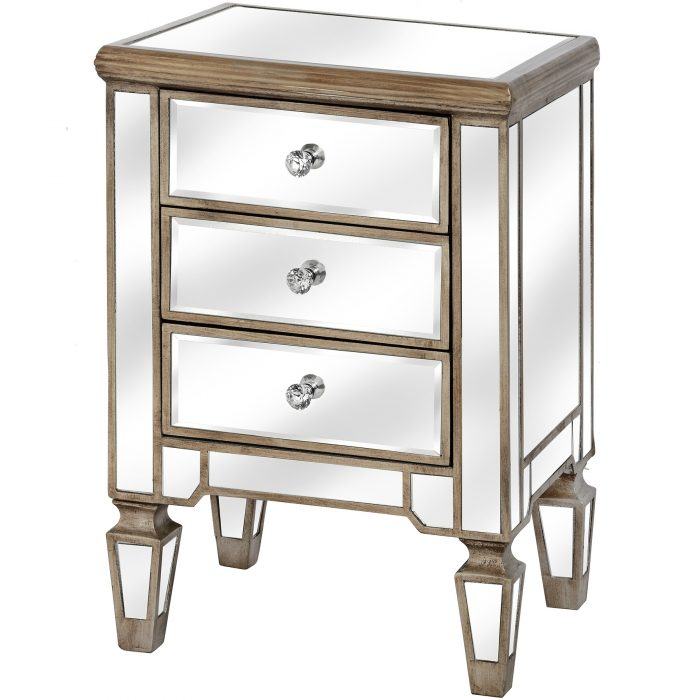 The Belfry Collection Three Drawer Mirrored Bedside - Cosy Home Interiors