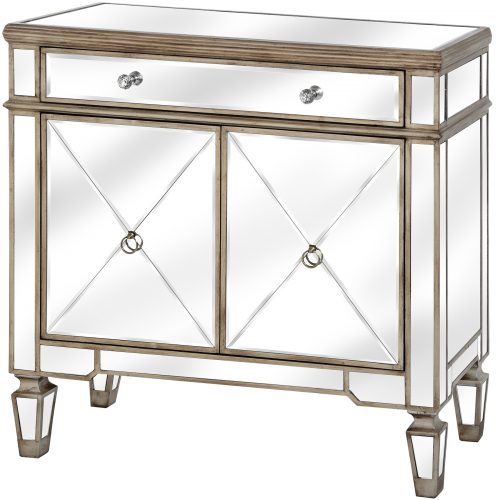 The Belfry Collection One Drawer Two Door Mirrored Cupboard - Cosy Home Interiors