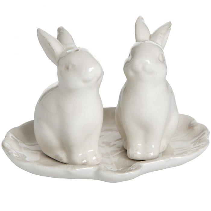 Set of 2 Salt and Pepper Rabbits - Cosy Home Interiors