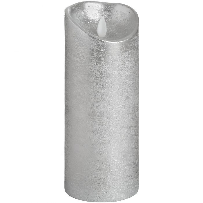 Luxe Collection 3.5 x 9 Silver Flicker Flame LED Wax Candle - Cosy Home Interiors