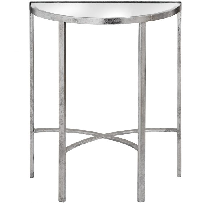 Mirrored Silver Half Moon Table With Cross Detail - Cosy Home Interiors