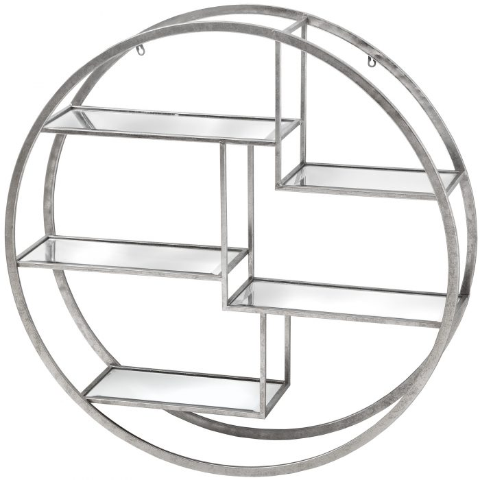Large Circular Silver Wall Hanging Multi Shelf - Cosy Home Interiors