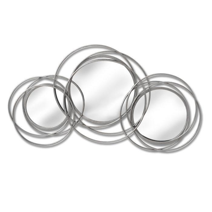 Silver Trio Multi Circled Wall Art Mirror - Cosy Home Interiors