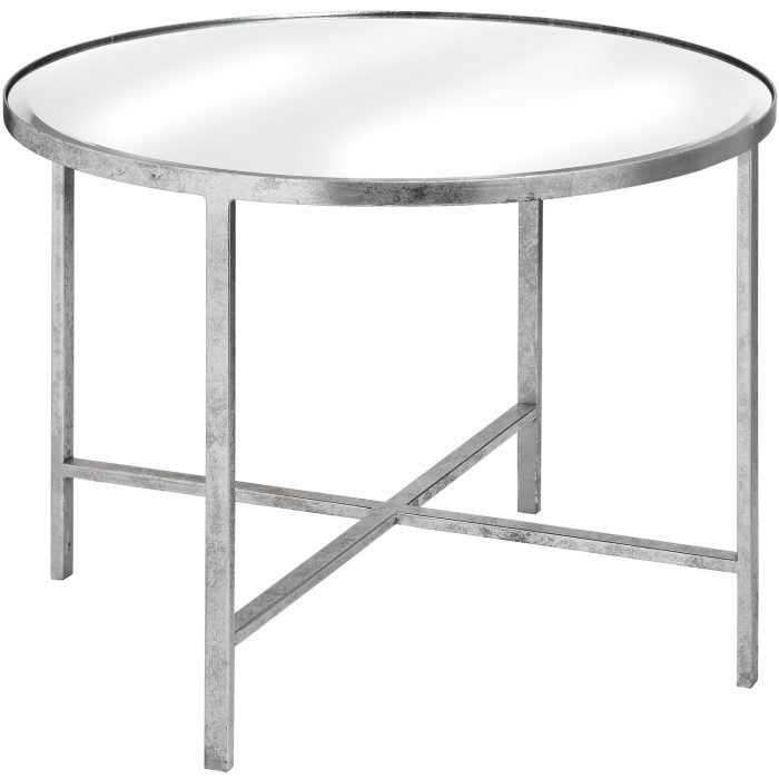 Large Mirrored Silver Side Table With Cross Detail - Cosy Home Interiors