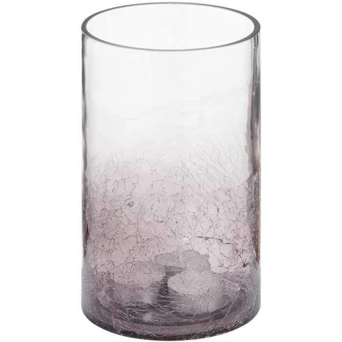Medium Smoked Crackle Effect Candle Holder - Cosy Home Interiors