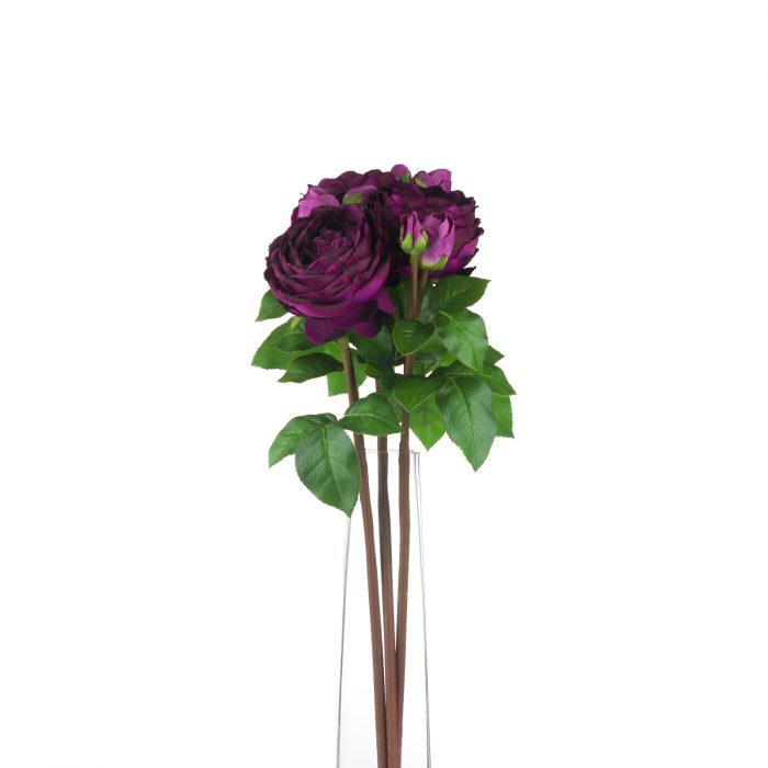 Deep Purple Wedding Peony Rose Spray - Cosy Home Interiors