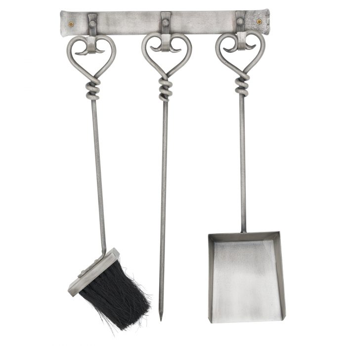 Hanging Antique Pewter Fireside Companion Set With Heart Detailing - Cosy Home Interiors