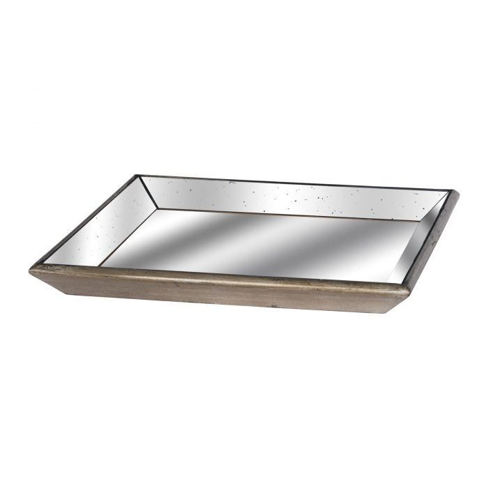 Astor Distressed Mirrored Square Tray With Wooden Detailing - Cosy Home Interiors