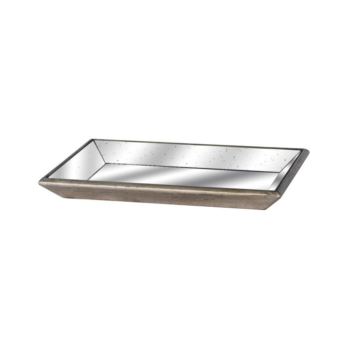 Astor Distressed Mirrored Tray With Wooden Detailing - Cosy Home Interiors