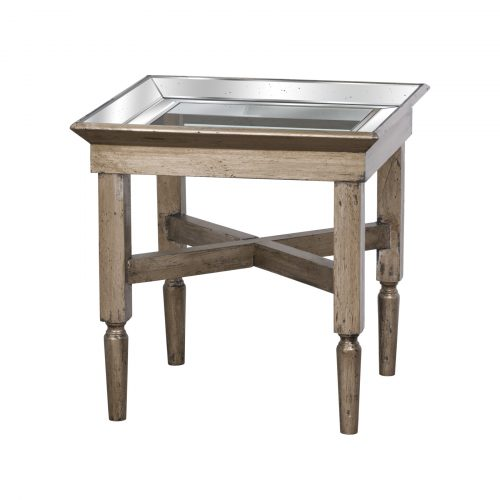 Astor Glass Side Table With Mirror Detailing - Cosy Home Interiors