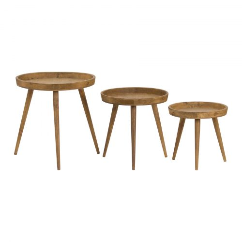 Loft Collection Set Of 3 Round Wooden Table - Cosy Home Interiors