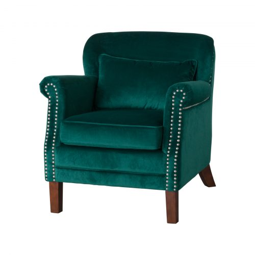 Emerald Velvet Low Backed Studded Armchair - Cosy Home Interiors