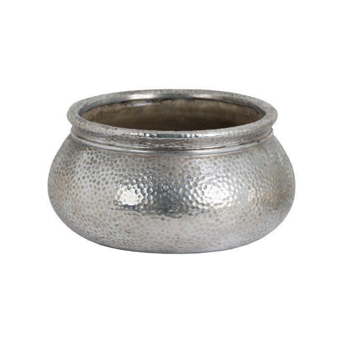 Metallic Ceramic Round Wide Necked Planter - Cosy Home Interiors