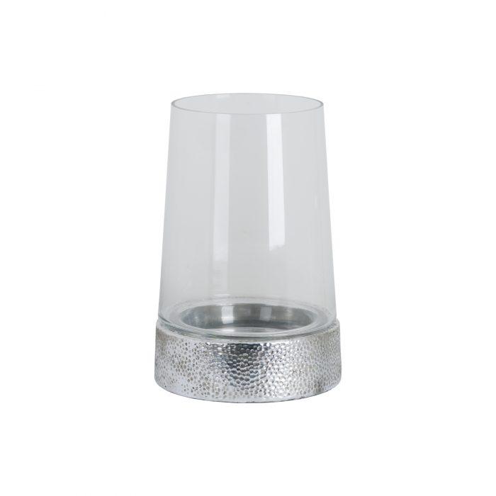 Large Metallic Ceramic Cylindrical Hurricane Lantern - Cosy Home Interiors