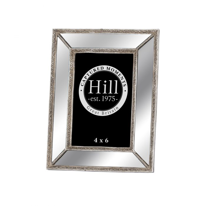 Mirrored Bevelled Photo Frame In Antique Silver With Detailed Edge 4X6 - Cosy Home Interiors
