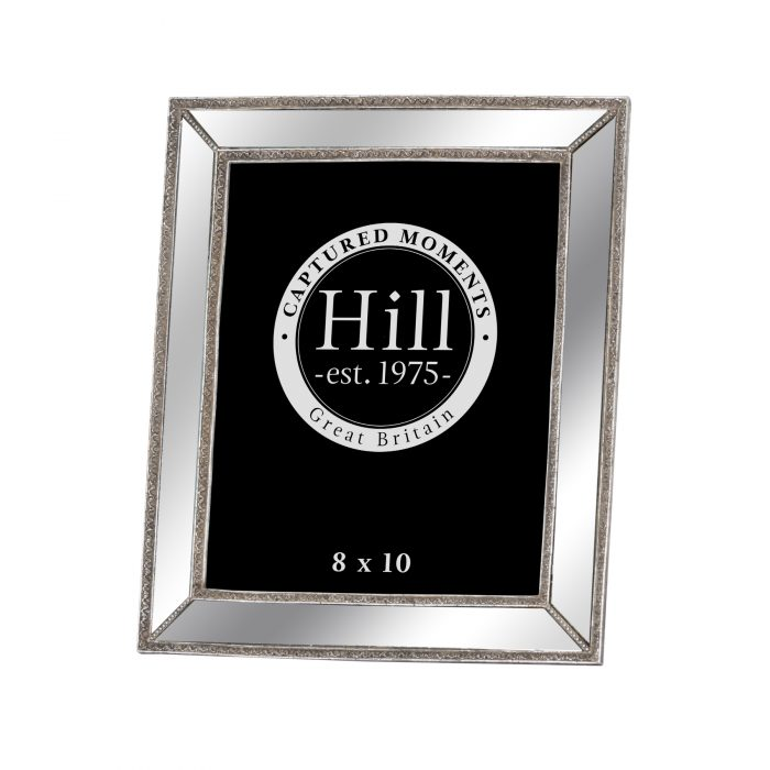 Mirrored Bevelled Photo Frame In Antique Silver With Detailed Edge 8X10 - Cosy Home Interiors