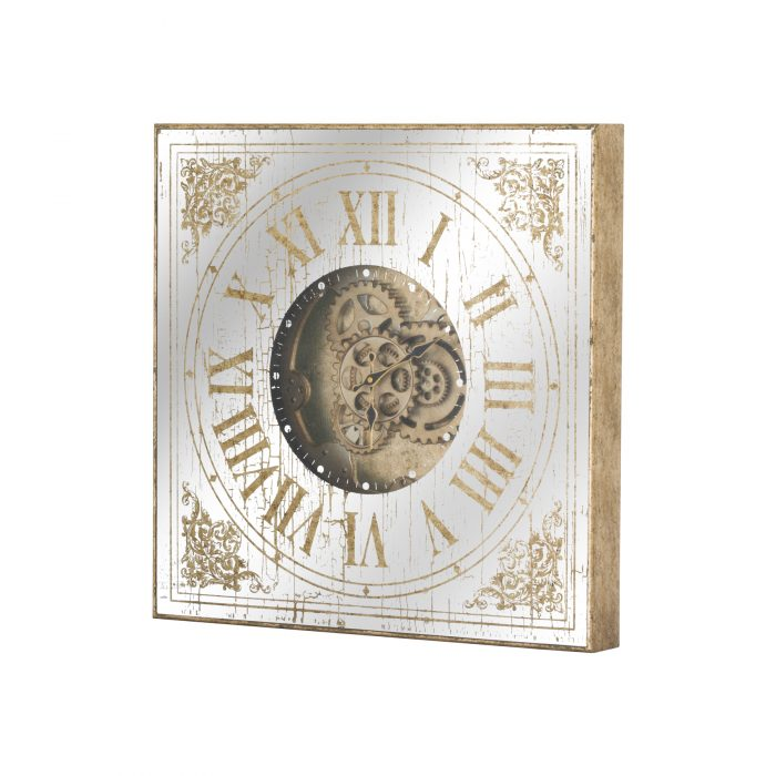 Mirrored Square Clock With Moving Mechanism - Cosy Home Interiors