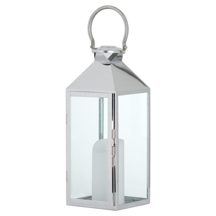 Stainless Steel Lantern With Wax Flickering Flame Candle - Cosy Home Interiors