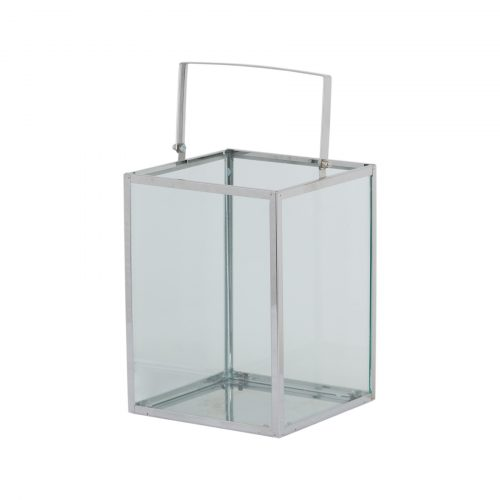 Silver Cube Contempory Lantern With Wax Led Candle - Cosy Home Interiors