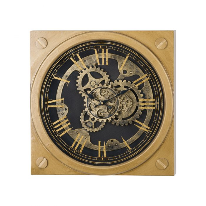 Square Gold Moving Mechanism Clock - Cosy Home Interiors