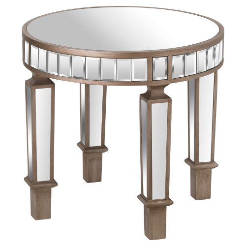 The Belfry Collection Mirrored Round Side Table - Cosy Home Interiors