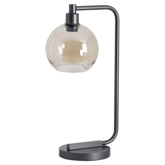 Industrial Metal Desk Lamp With Smoked Glass - Cosy Home Interiors