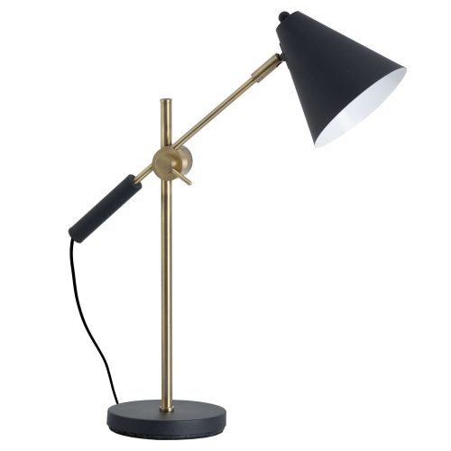 Black And Brass Adjustable Desk Lamp With Cone Shade - Cosy Home Interiors
