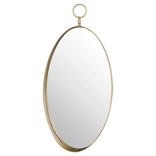 Antique Gold Oval Mirror With Decorative Loop - Cosy Home Interiors