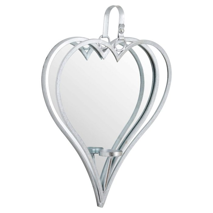 Large Silver Mirrored Heart Candle Holder - Cosy Home Interiors