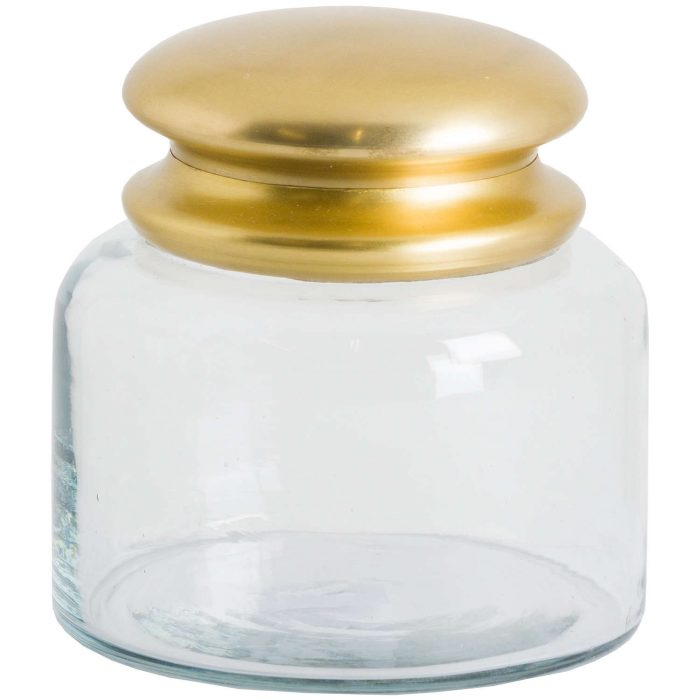 Glass Storage Pot With Brass Lid - Cosy Home Interiors