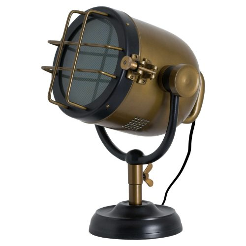 Brass And Black Industrial Spotlight Table Lamp - Cosy Home Interiors