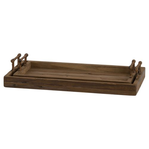 Set Of Two Rustic Trays With Metal Handle - Cosy Home Interiors