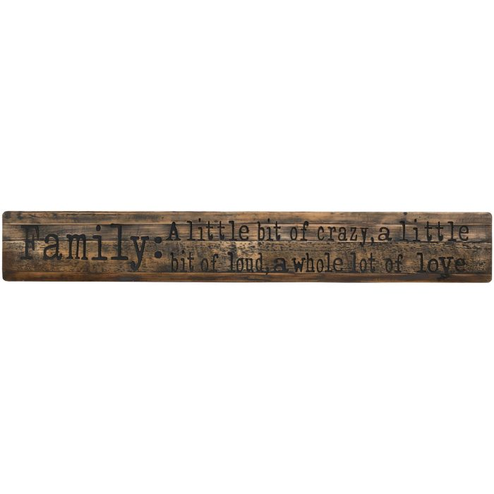 Family Large Rustic Wooden Message Plaque - Cosy Home Interiors