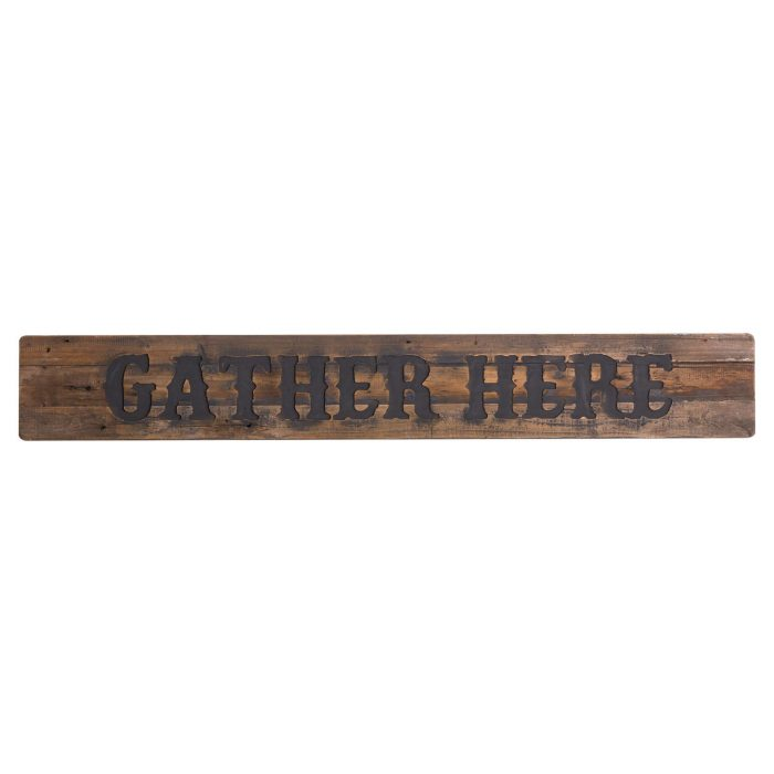 Gather Here Rustic Wooden Message Plaque - Cosy Home Interiors