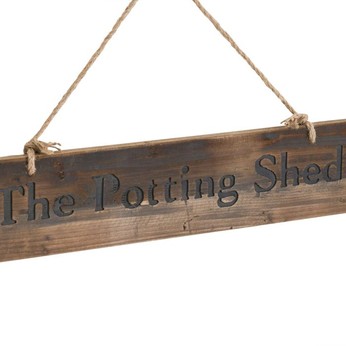 The Potting Shed Rustic Wooden Message Plaque - Cosy Home Interiors