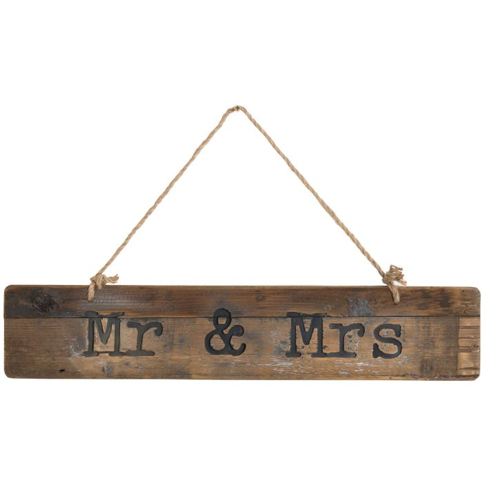 Mr & Mrs Rustic Wooden Message Plaque - Cosy Home Interiors
