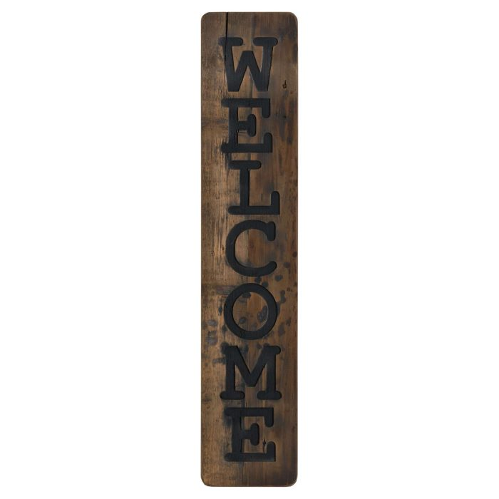 Welcome Large Rustic Wooden Message Plaque - Cosy Home Interiors