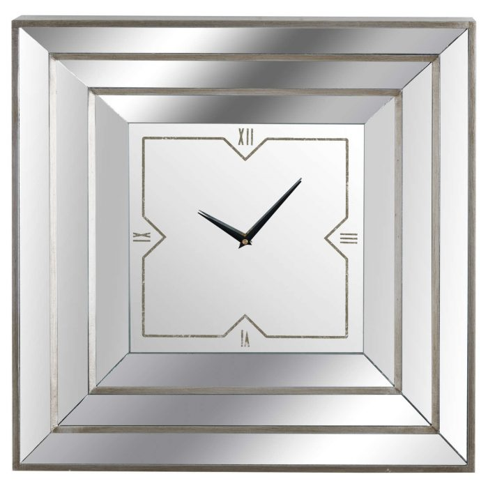 Square Triple Bevelled Mirrored Wall Clock - Cosy Home Interiors