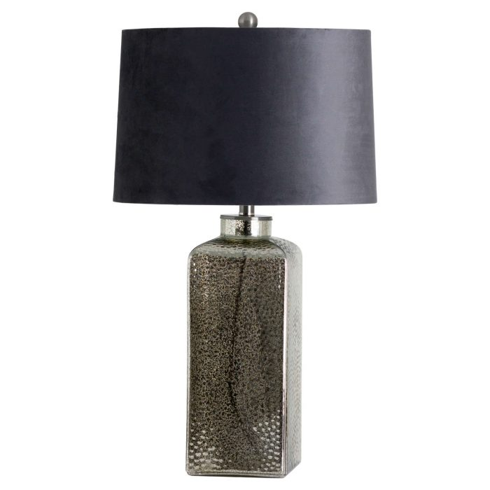 Stella Mirrored Glass Table Lamp With Velvet Shade - Cosy Home Interiors