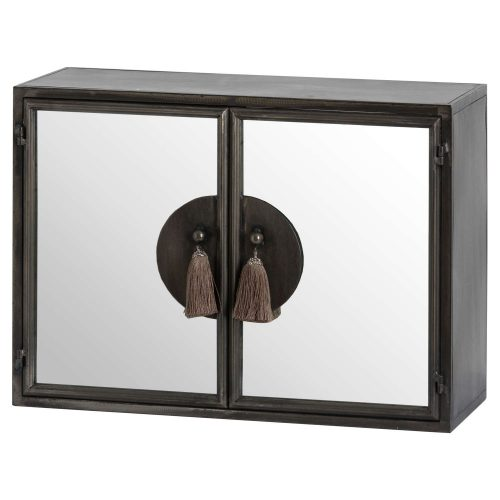 Silver Mirrored Wall Cabinet With Tassel Handles - Cosy Home Interiors