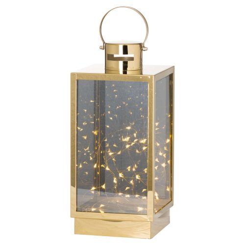 Large Brass Lantern With Led Micro Lights - Cosy Home Interiors